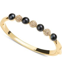 charter club gold-tone pave fireball & navy imitation pearl bangle bracelet, created for macy's