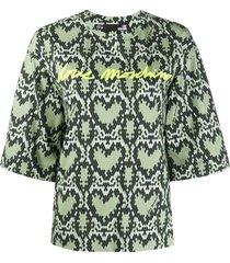 love moschino heart-pattern 3/4 sleeve sweatshirt - green