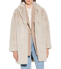 women's sandro faux fur coat, size 2 us - beige