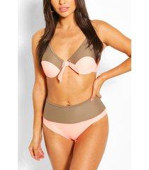 colour block underwired high waist bikini, orange