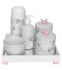 kit higiene espelho completo porcelanas, garrafa pequena e capa passarinho rosa quarto bebê menina