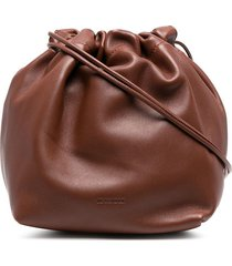 jil sander small drawstring crossbody bag - brown