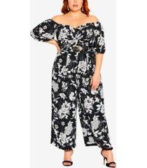 city chic trendy plus size mod floral jumpsuit