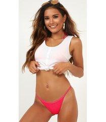 showpo kym bikini bottom in hot pink - 8 (s) beachwear