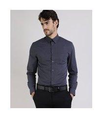 camisa masculina comfort com bolso manga longa chumbo