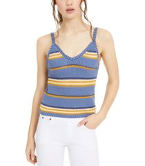 crave fame juniors' striped sweater tank top