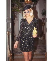 colourful rebel 9267 holly stars fake wrap dress black/ gold -