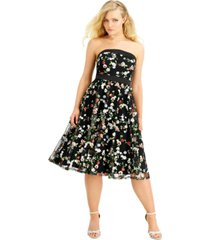 city studios juniors' floral sequin embroidered midi dress, created for macy's