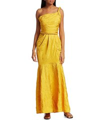 johanna ortiz women's la carolina crinkle taffeta one-shoulder gown - mango - size 4