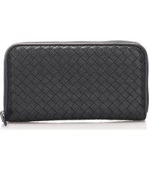 bottega veneta intrecciato zip around wallet gray sz: