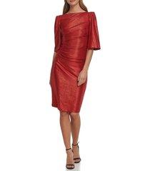 women's eliza j metallic cape sleeve cocktail dress, size 2 - red