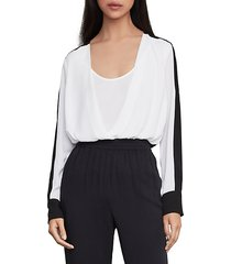 two-tone faux wrap top