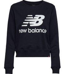 essentials crew sweat-shirt tröja blå new balance