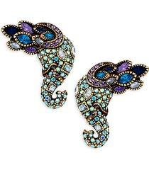 multi-color rhinestone elephant earrings