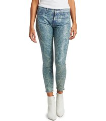7 for all mankind women's coated laser indigo snake mid-rise ankle skinny jeans - reed coated - size 28 (4-6)
