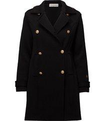 marina coat wollen jas lange jas zwart busnel