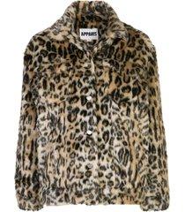 apparis lauren leopard faux-fur coat - brown