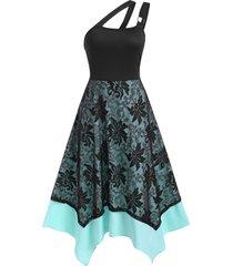 o-ring asymmetrical layered lace cami dress