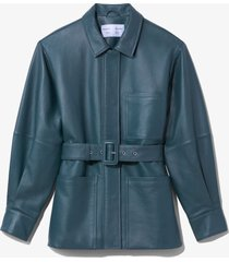 proenza schouler white label leather belted jacket petrol/green 8