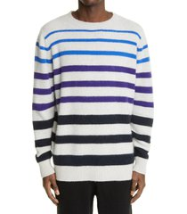 men's the elder statesman horizon stripe cashmere sweater, size x-large - blue