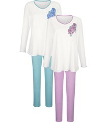 pyjama's per 2 stuks harmony ecru::jadegroen::oudroze