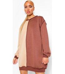 colour block sweatshirt jurk met naad detail, chocolate