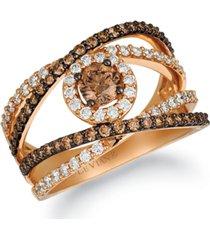 le vian chocolate diamond & vanilla diamond crisscross statement ring (1-1/4 ct. t.w.) in 14k rose gold