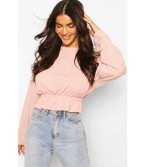 top met geribbelde elastische taille en manchetten, blush