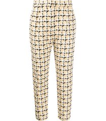 msgm tweed check cropped trousers - neutrals