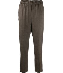 peserico beaded cropped trousers - brown