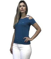 camiseta hifen com abertura no ombro azul - azul - feminino - algodã£o - dafiti