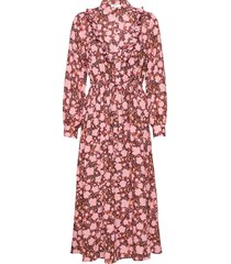 frix maxi dress aop knälång klänning rosa moss copenhagen