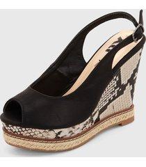 sandalia plataforma negro-blanco xti
