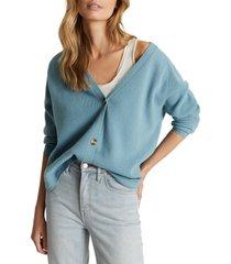 women's reiss elaina wool & cashmere cardigan, size x-large - blue