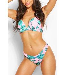 mix & match tropische bikinibroekje met hoge pijpen, roze