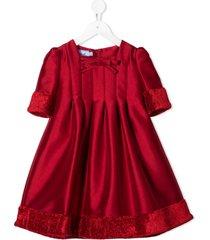 mi mi sol pleated faux fur detail dress - red