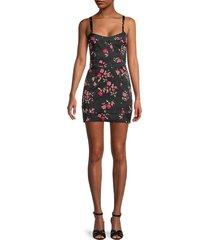 for love & lemons women's cassidy floral mini dress - black - size xs