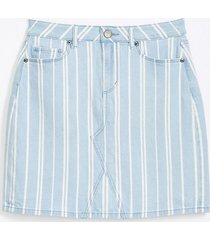 loft petite striped denim shift skirt