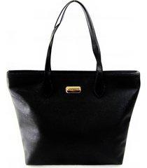 bolsa tiracolo/mão em material sintético e alças de couro maria adna preta