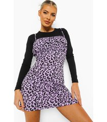 luipaardprint t-shirt met geplooide buste, lila