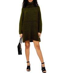 women's topshop turtleneck sweater dress, size large - green