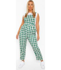 plus flannel pinafore jumpsuit, green