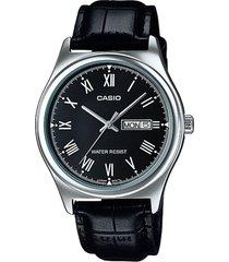 reloj casio mtp_v006l_1b negro cuero