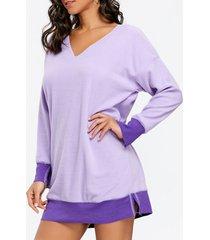 fleece v neck tunic sweatshirt