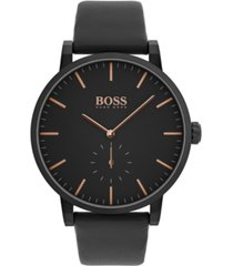 boss men's chronograph essence black leather strap watch 42mm