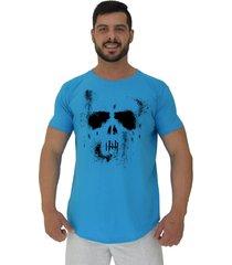 camiseta longline alto conceito spooky ghost skull azul piscina - azul - masculino - algodã£o - dafiti