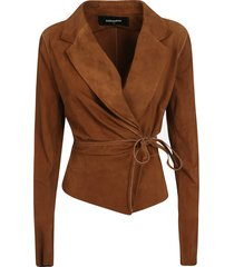dsquared2 tied waist4 v-neck draped cardi-coat