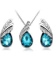 set gioielli collana orecchini con cristallo a goccia d'acqua