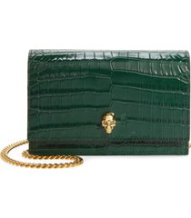 alexander mcqueen mini skull croc embossed leather crossbody bag - green