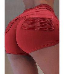 bolsillos fruncidos diseño shorts de cintura elástica